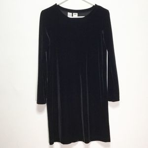 DKNY Petite Black Long Sleeve Velvet Dress